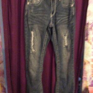 NWOT dark bootcut distressed jeans